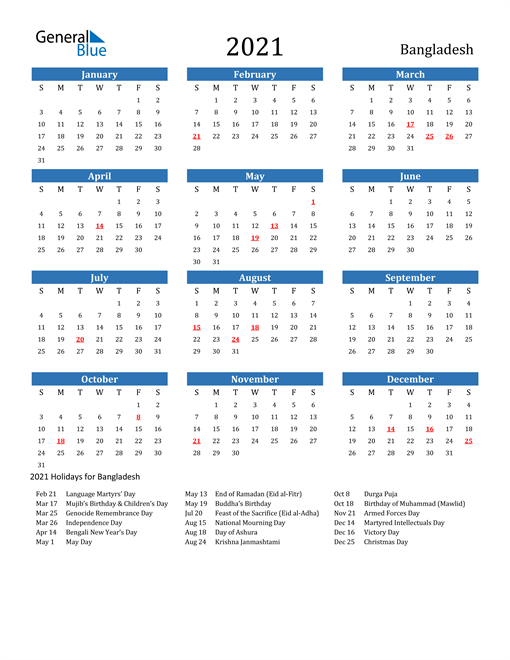 Image of 2021 Calendar - Bangladesh with Holidays