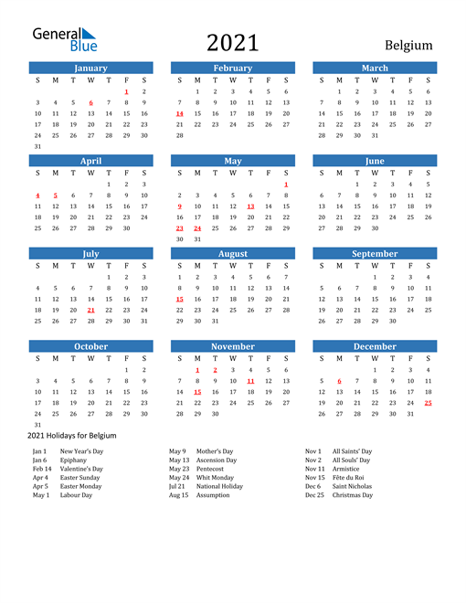 Image of 2021 Calendar - Belgium with Holidays
