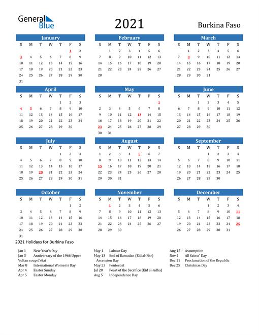 Image of 2021 Calendar - Burkina Faso with Holidays