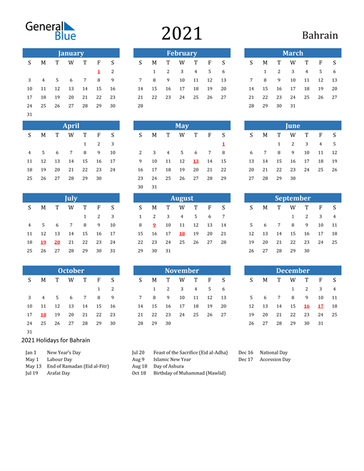 Image of 2021 Calendar - Bahrain with Holidays