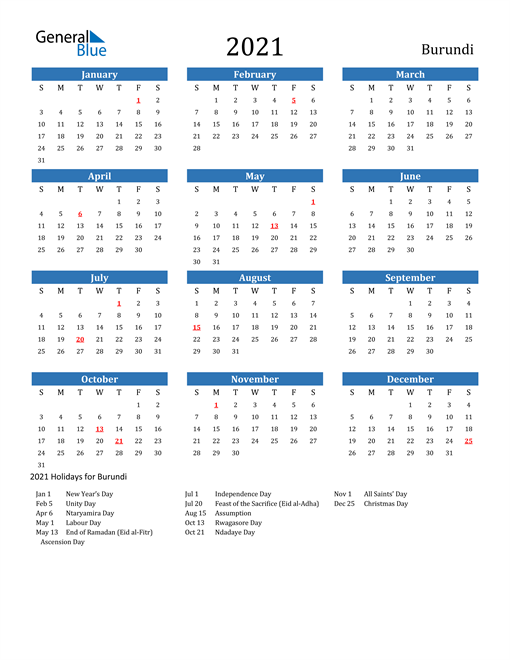 Image of 2021 Calendar - Burundi with Holidays