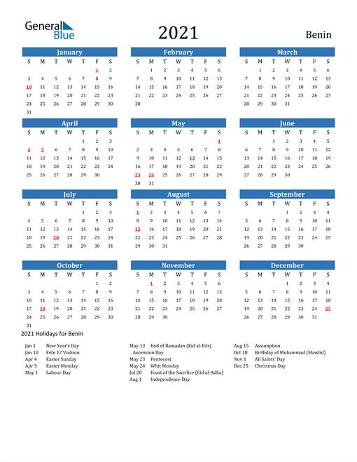 2021 Calendar with Benin Holidays