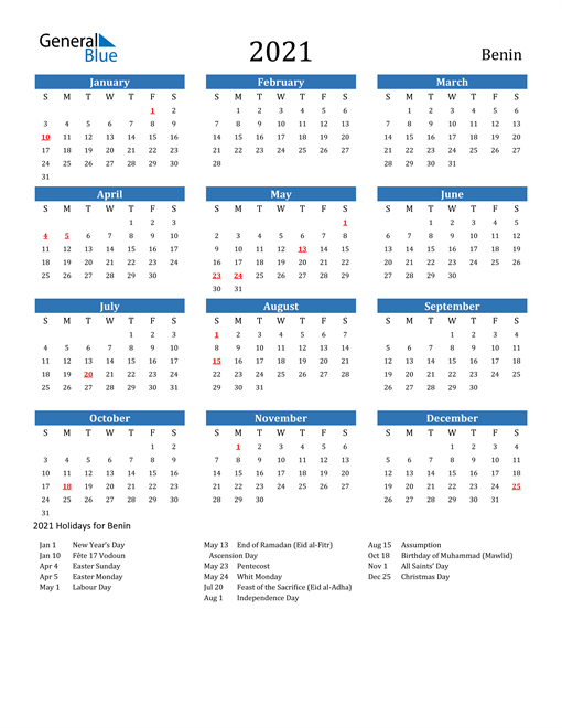 Image of 2021 Calendar - Benin with Holidays
