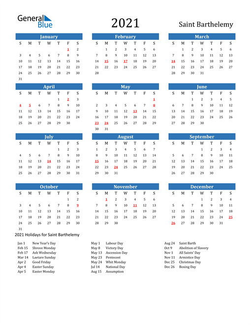 Image of 2021 Calendar - Saint Barthelemy with Holidays