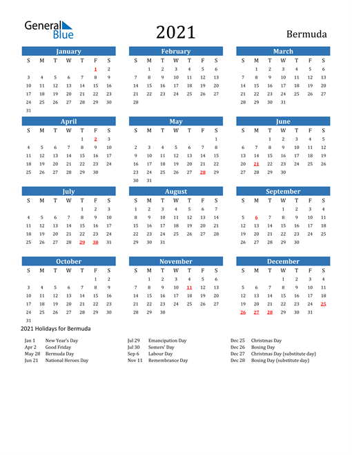 Image of 2021 Calendar - Bermuda with Holidays
