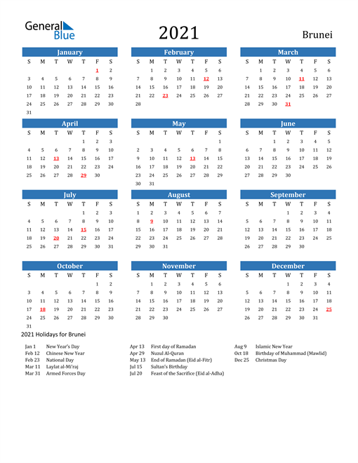 Image of 2021 Calendar - Brunei with Holidays