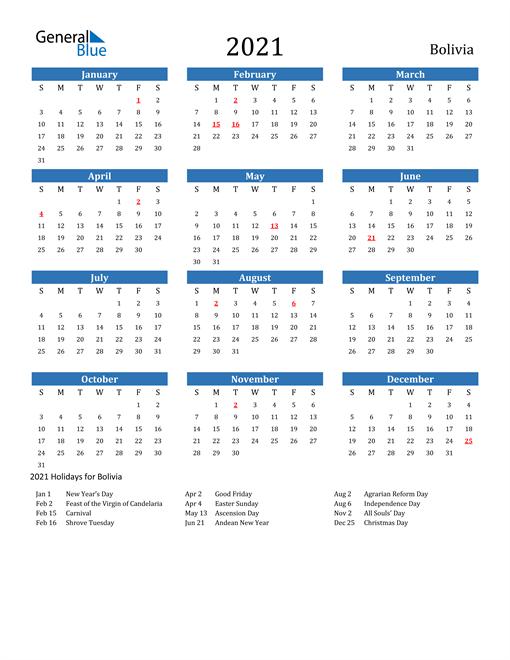 Image of 2021 Calendar - Bolivia with Holidays