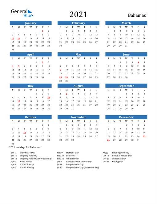 Image of Bahamas 2021 Calendar with Holidays