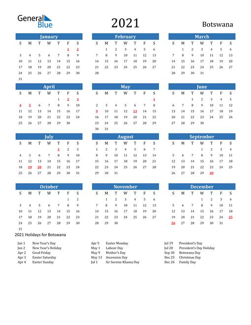 Image of 2021 Calendar - Botswana with Holidays
