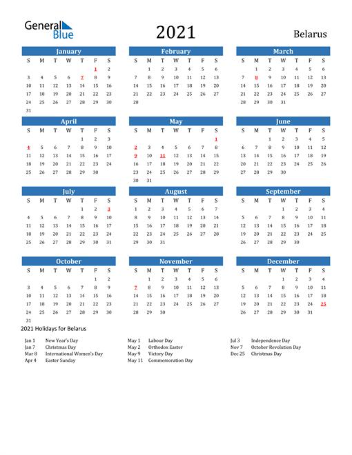 Image of 2021 Calendar - Belarus with Holidays