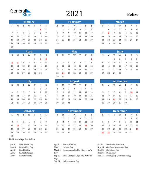 Image of 2021 Calendar - Belize with Holidays