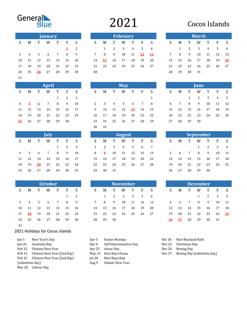 Image of 2021 Calendar - Cocos Islands with Holidays