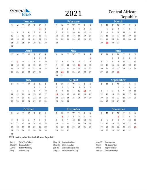 Image of 2021 Calendar - Central African Republic with Holidays
