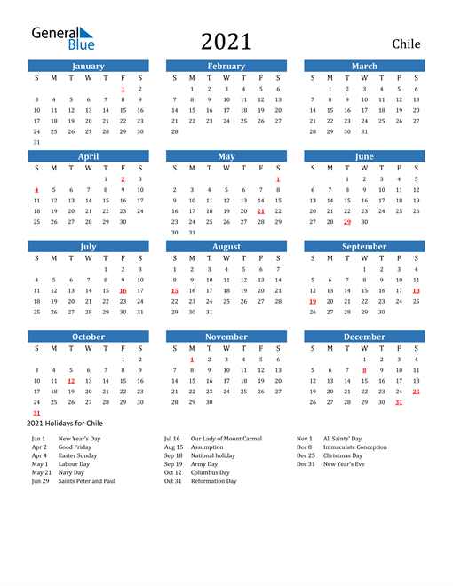 Image of 2021 Calendar - Chile with Holidays