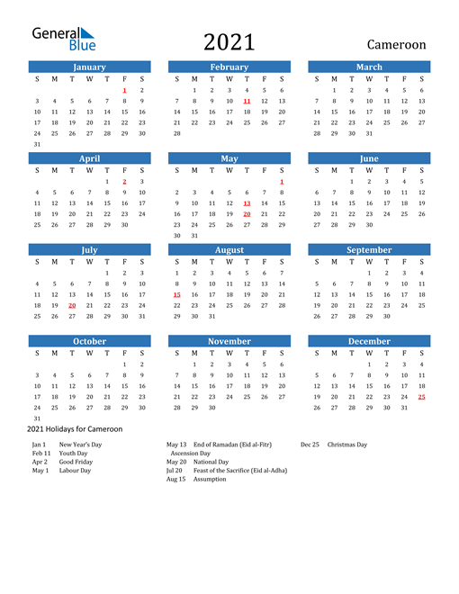 Image of 2021 Calendar - Cameroon with Holidays