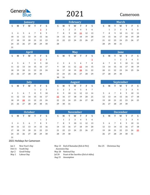 2021 Calendar with Cameroon Holidays