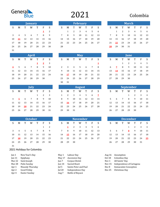 Image of 2021 Calendar - Colombia with Holidays