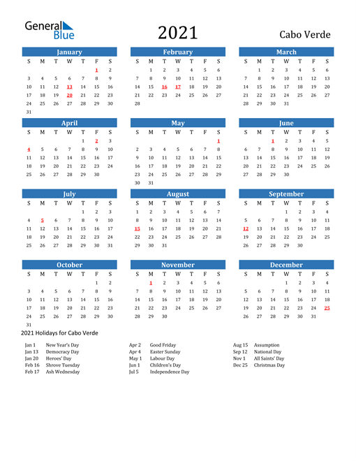 Image of 2021 Calendar - Cabo Verde with Holidays
