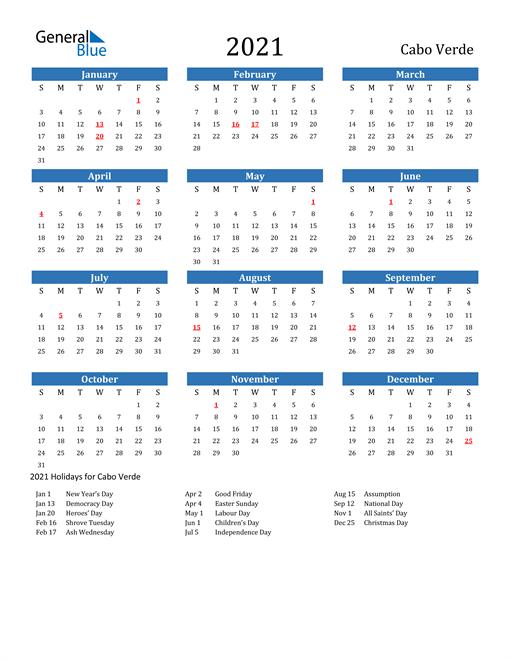 2021 Calendar with Cabo Verde Holidays