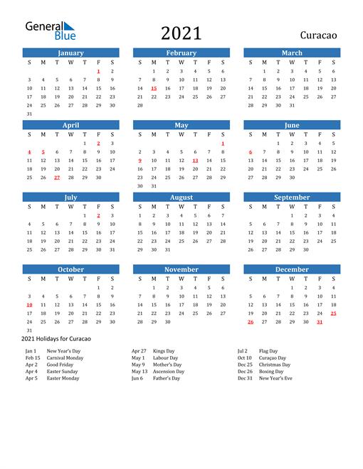 Image of 2021 Calendar - Curacao with Holidays