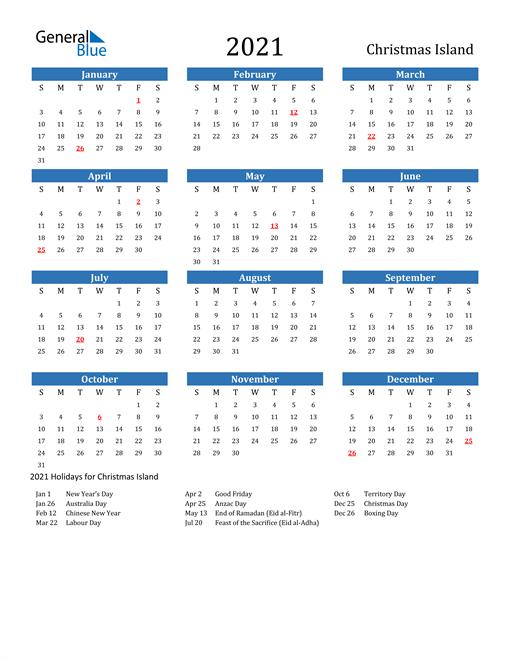 Image of 2021 Calendar - Christmas Island with Holidays