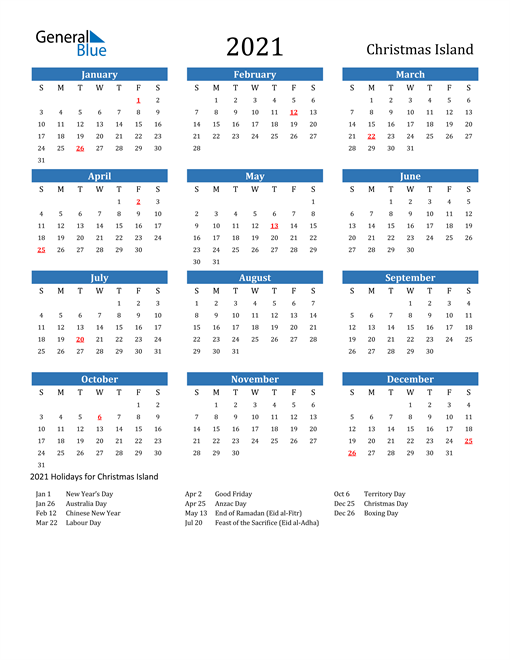 2021 Calendar - Christmas Island with Holidays