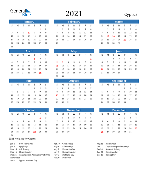 Image of 2021 Calendar - Cyprus with Holidays