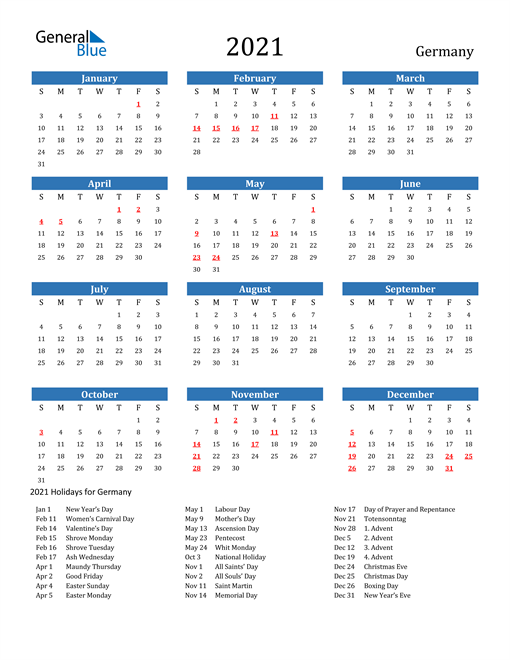 Image of 2021 Calendar - Germany with Holidays