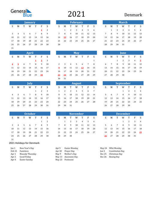 Image of 2021 Calendar - Denmark with Holidays