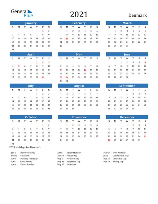 Denmark 2021 Calendar with Holidays