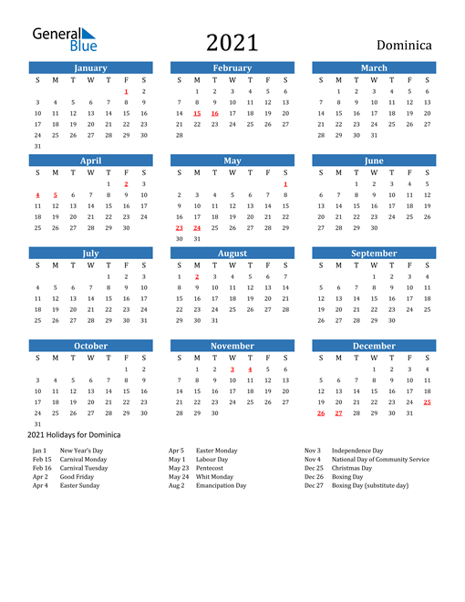 Image of 2021 Calendar - Dominica with Holidays