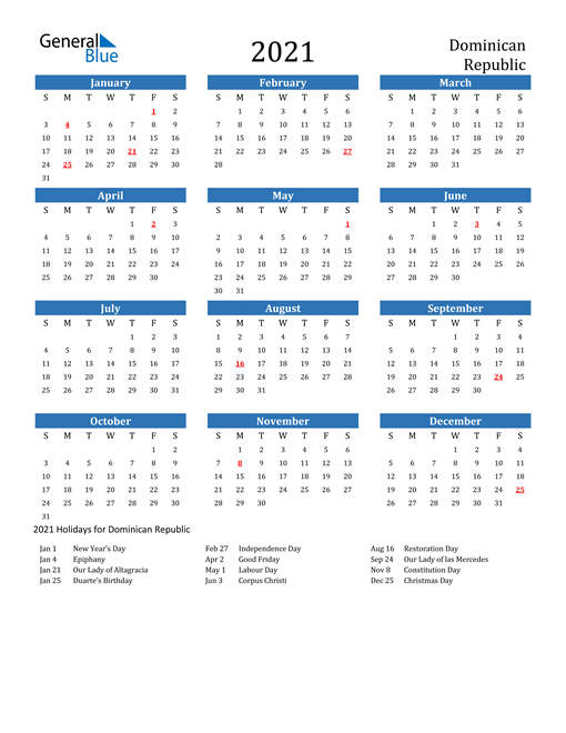 Image of 2021 Calendar - Dominican Republic with Holidays
