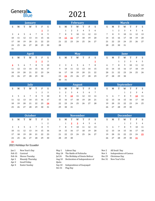 Image of 2021 Calendar - Ecuador with Holidays