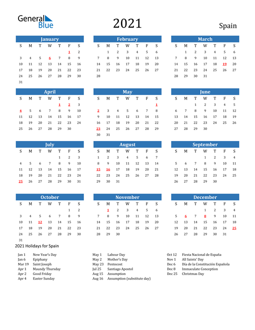 Image of 2021 Calendar - Spain with Holidays