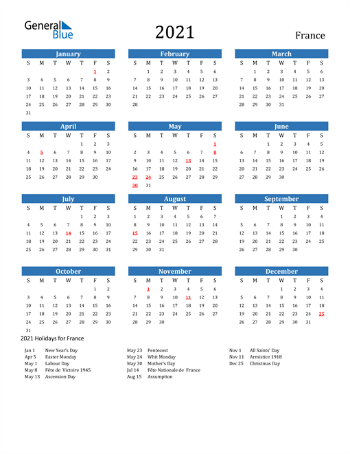 Image of 2021 Calendar - France with Holidays
