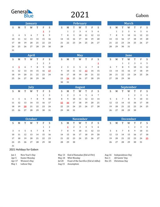 Image of 2021 Calendar - Gabon with Holidays
