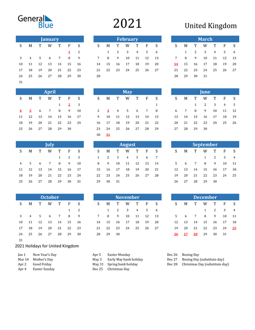 Image of 2021 Calendar - United Kingdom with Holidays