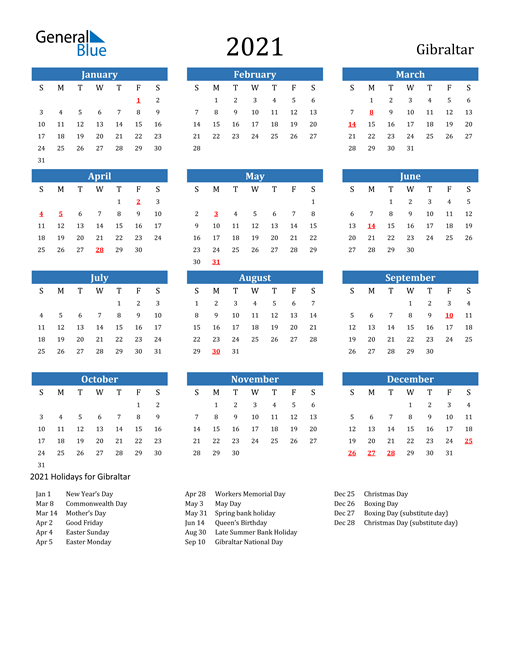 Image of 2021 Calendar - Gibraltar with Holidays