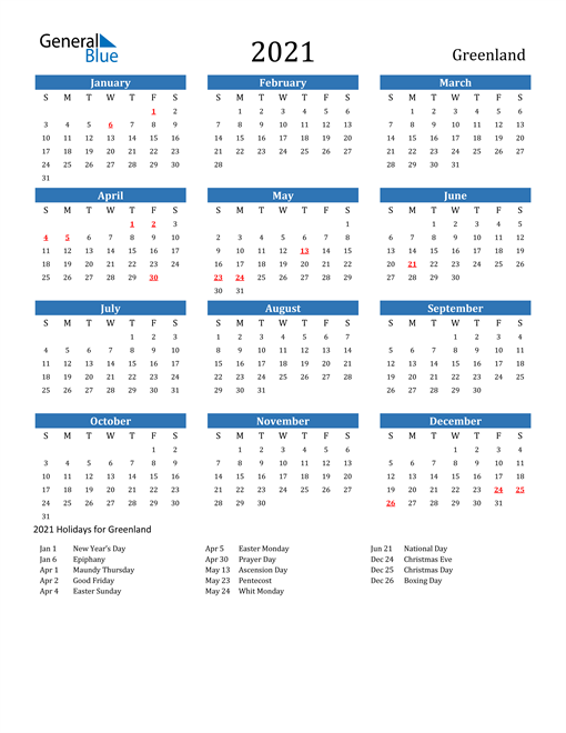 Image of 2021 Calendar - Greenland with Holidays