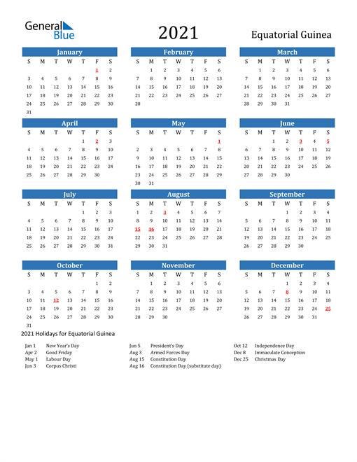Image of 2021 Calendar - Equatorial Guinea with Holidays