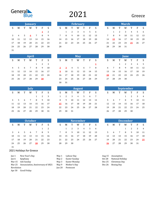 Image of Greece 2021 Calendar with Holidays