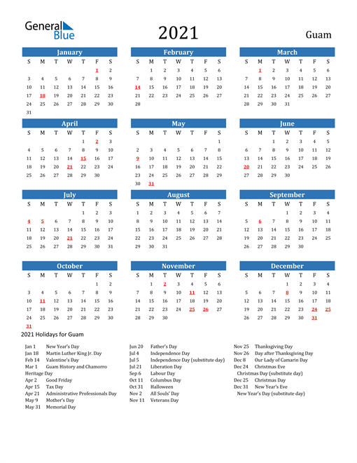 Image of 2021 Calendar - Guam with Holidays