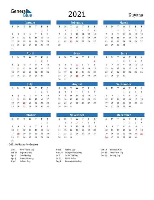 Image of 2021 Calendar - Guyana with Holidays