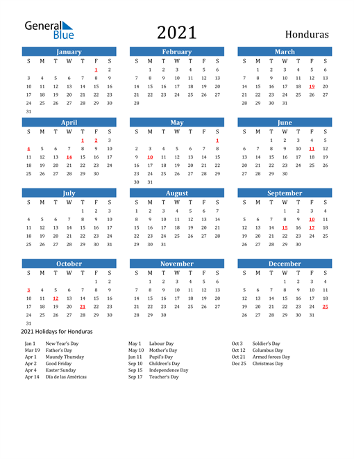 Image of 2021 Calendar - Honduras with Holidays