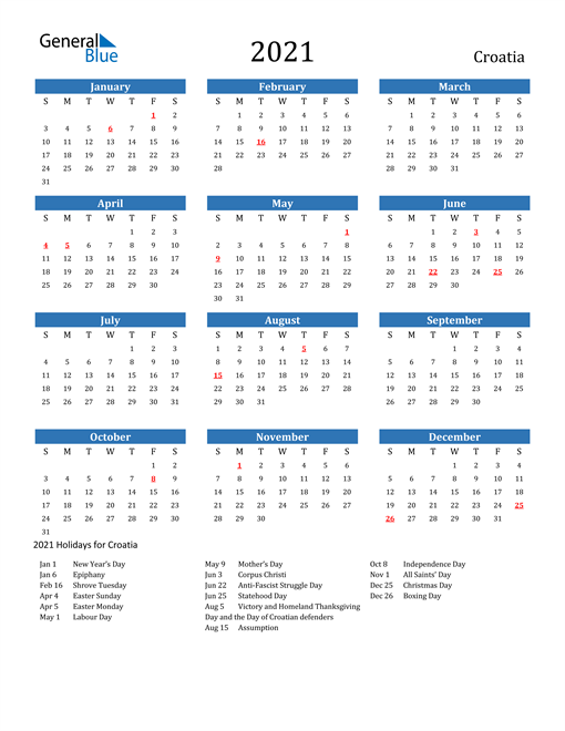 Image of 2021 Calendar - Croatia with Holidays