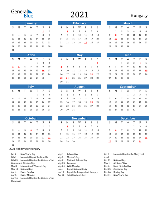 Image of 2021 Calendar - Hungary with Holidays