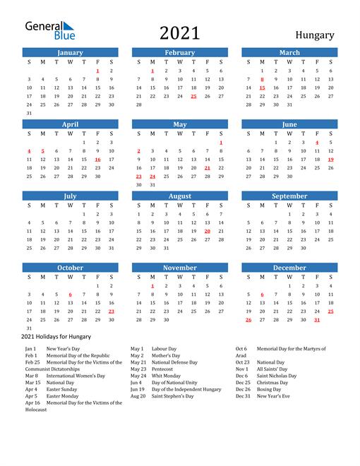 2021 Calendar with Hungary Holidays