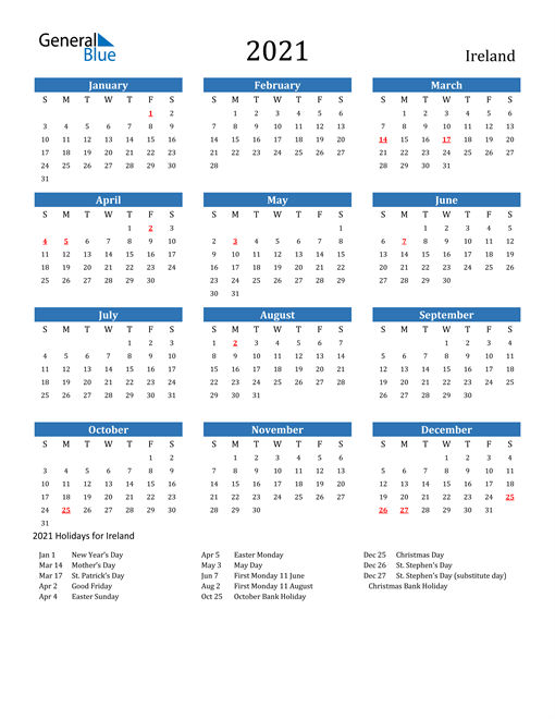 Image of 2021 Calendar - Ireland with Holidays