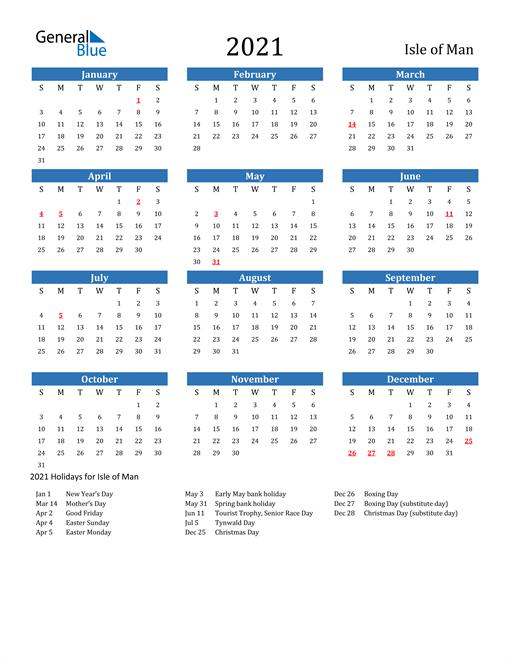 2021 Calendar with Isle of Man Holidays