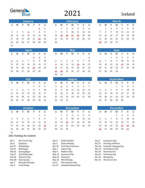 Image of 2021 Calendar - Iceland with Holidays